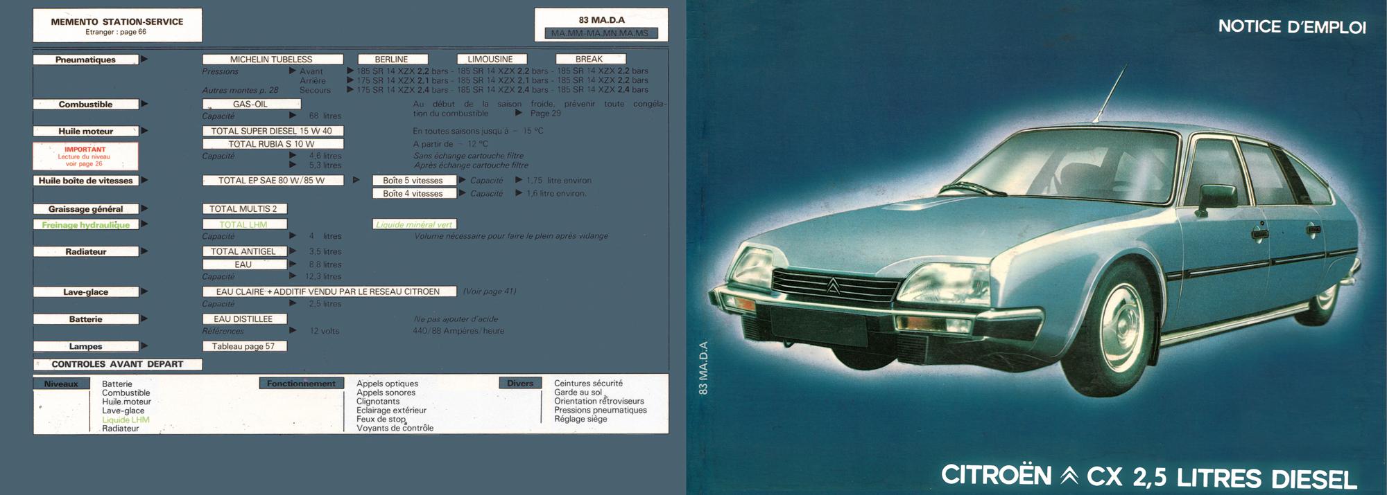 1983 citro n cx 2 5 litres diesel owner s manual rh citroenet org uk Citroen XM citroen cx owners manual pdf
