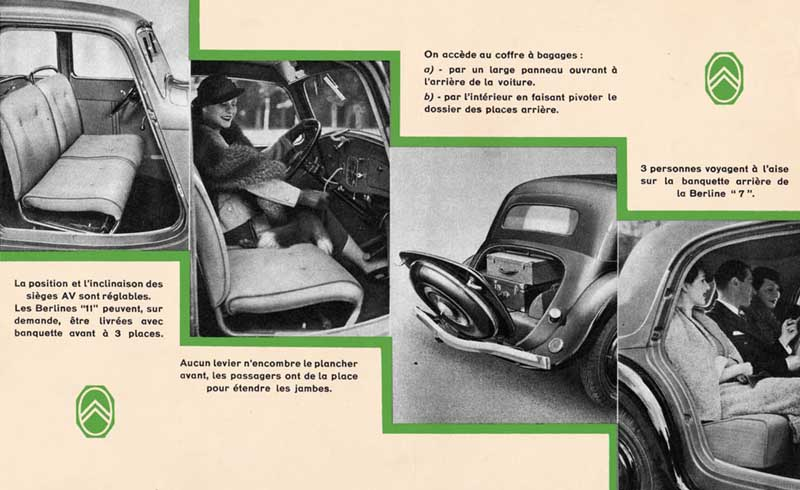 citro n publicity 1935 french traction avant and traction arriere brochure. Black Bedroom Furniture Sets. Home Design Ideas